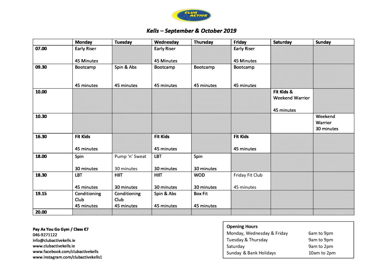 picture about Printable Class Schedule referred to as Cles - ClubActive Kells Health club Conditioning Studio